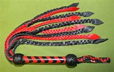 "Red & Black Braided CAT O' NINE Flogger  26""  ~  HELLISH   ~   A Great Value at $39.99"