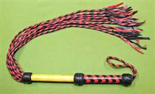 "Red & Black CAT O' NINE Flogger with Wood and Leather Handle   38""  ~  HELLISH   ~   A Great Value at $39.99"