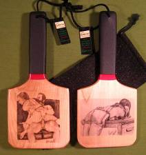 """""""CANED"""" & """"STRAPPED OTK"""" - ONE Double Sided Patty's Paddle  $26.99"""