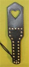 "Studded Open Heart Leather Paddle  -  12"" x 3"" -  Great Burn  $24.99"