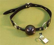 "BLACK BALL GAG with Paddle Lock - 1 1/2"" Rubber Ball  ~  $13.99  WOW"