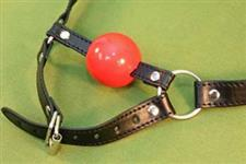 RED BALL GAG with CHIN STRAP - WOW  ~  $15.99