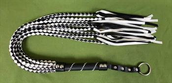 "Black & White Eight Tail Flogger - 30""   - $29.99"