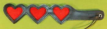 "Leather Three Heart Paddle 16"" Long and 3"" Wide $24.99 - NOW only $19.99"
