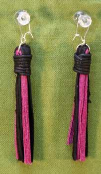 Flogger Earrings - Pink and Black  $11.99