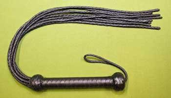 """CAT O' NINE Braided FLOGGER All Black -  27""""   A HUGE OUCH only $34.99"""